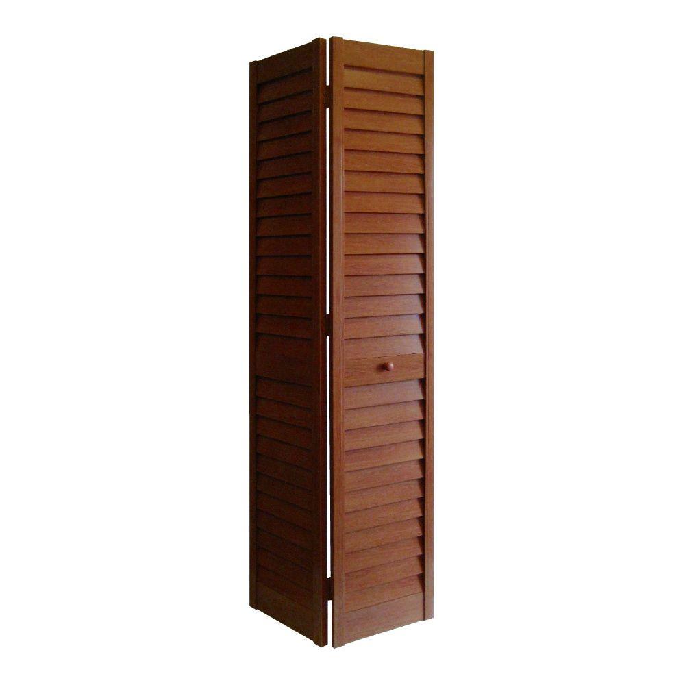 28 In X 80 3 Louver Cherry Pvc Composite Interior Bi Fold Door