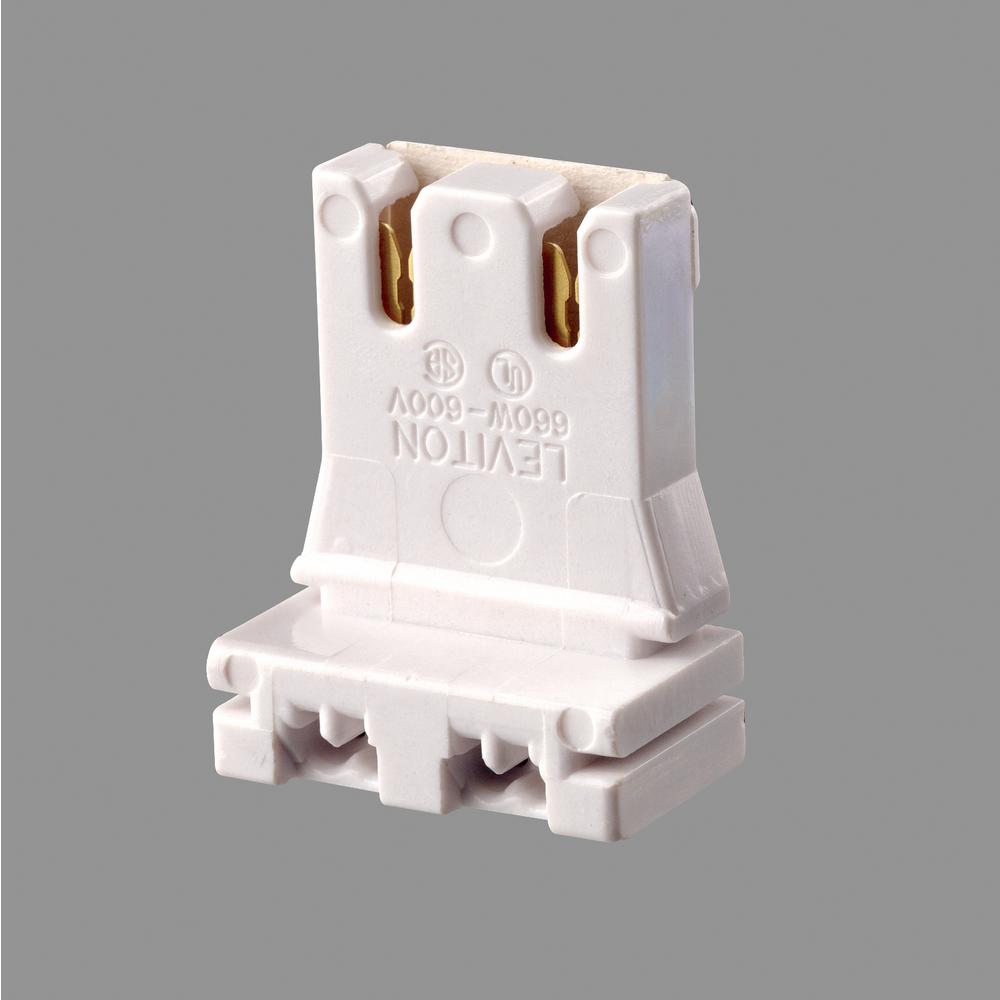 Leviton 660W Medium Base Bi-Pin Low Profile Slide-On Straight-In Double Edge Standard Fluorescent Lampholder, White