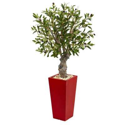 40 in. High Indoor Olive Artificial Tree in Red Tower Planter