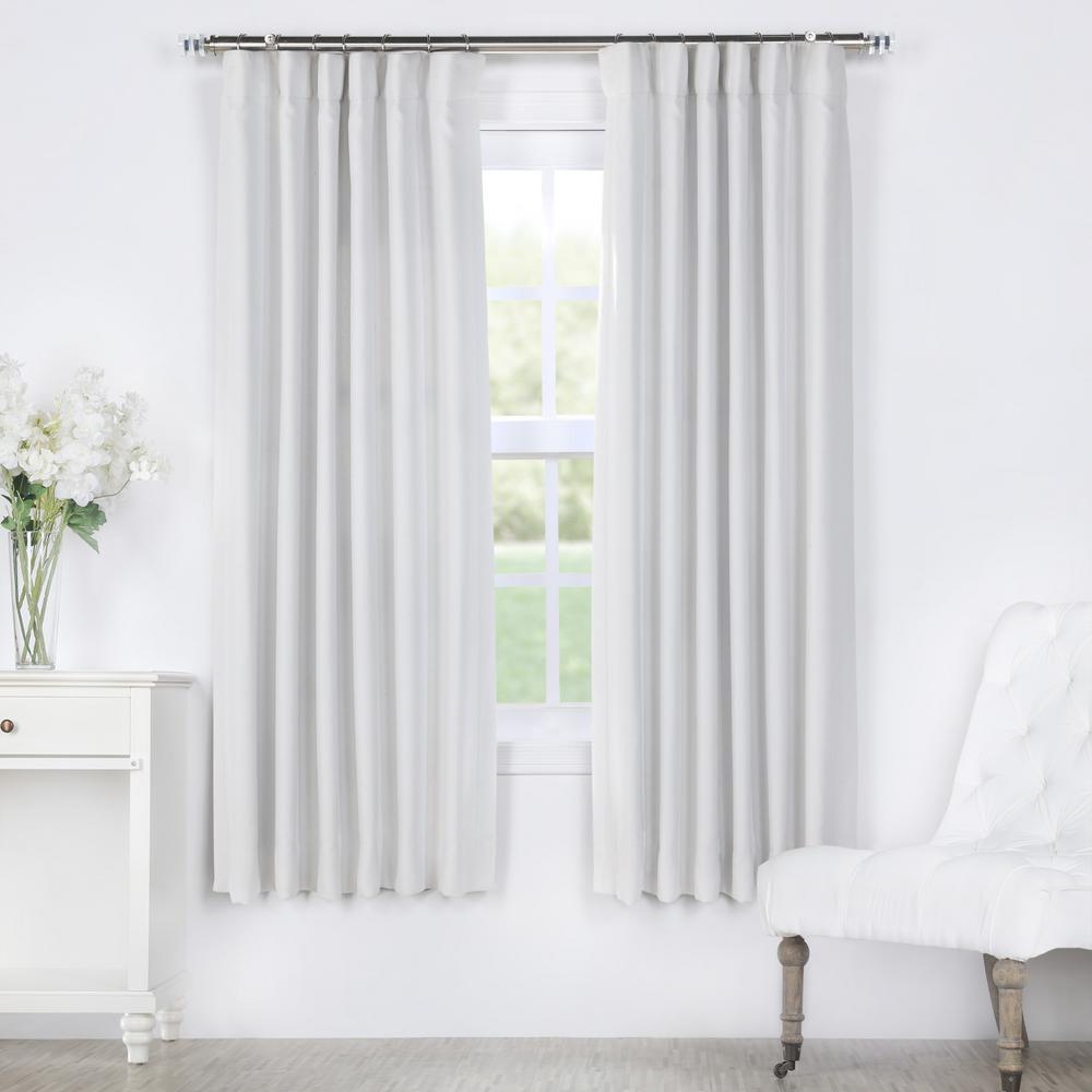 Chalk Off White Bellino Blackout Room Darkening Curtain - 50 in. W x 63 in. L