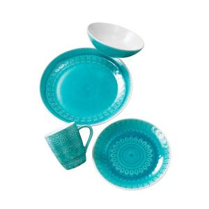 Fez 16-Piece Turquoise Dinnerware Set by