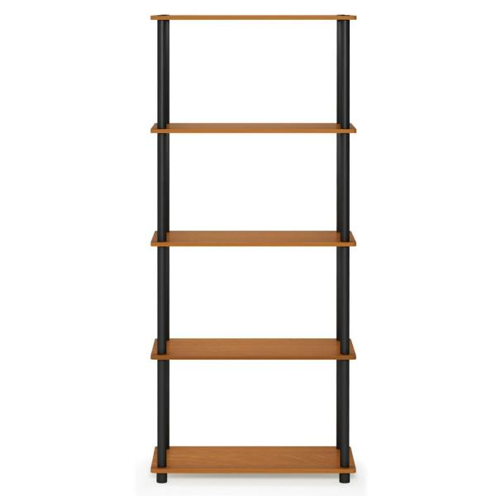 Furinno Turn-N-Tube Light Cherry/Black 5-Shelf Multipurpose Display Shelf 17091LC/BK