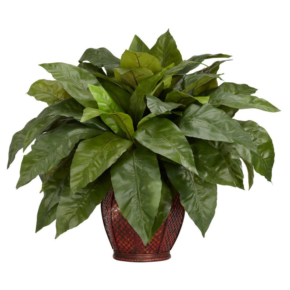 Nearly Natural 23 in. H Green Birdsnest Fern with Decorative Vase Silk Plant