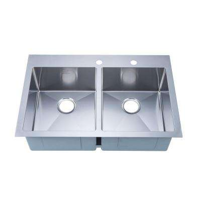 NationalWare Drop-in Stainless Steel 33 in. 2-Hole Double Bowl Kitchen Sink in Stainless Steel