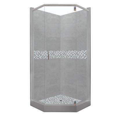 Del Mar Grand Hinged 32 in. x 36 in. x 80 in. Left-Cut Neo-Angle Shower Kit in Wet Cement and Chrome Hardware