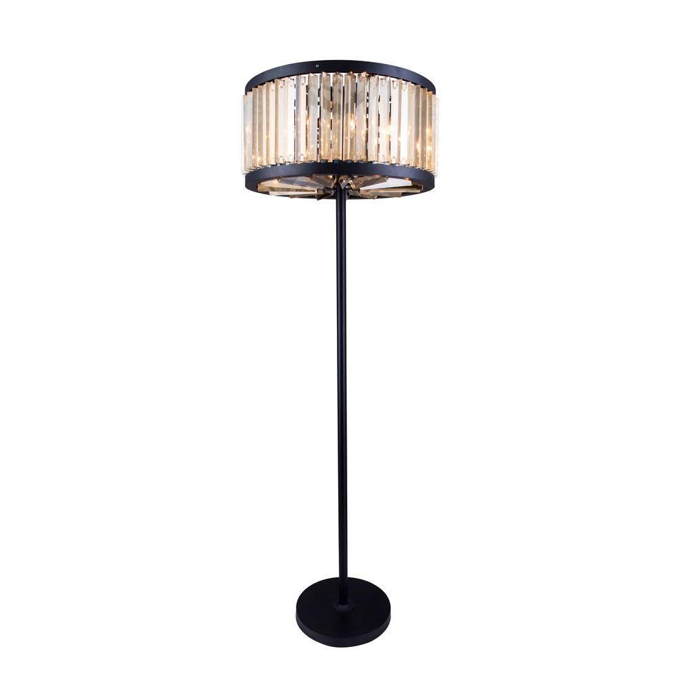 Chelsea 72 in. Mocha Brown Floor Lamp with Golden Teak Smoky Crystal