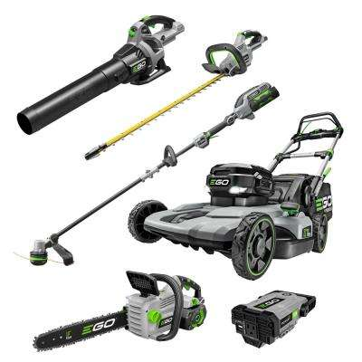 56V Lith-Ion Cordless 21 in. Self Propelled Mower/Blower/Hedge/Trimmer/18 in. Chainsaw/Power Adapter Combo Kit (6-Tools)