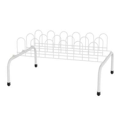 11 in. H x 17.75 in. W 9-Pair Iron Floor Shoe Rack Storage Organizer