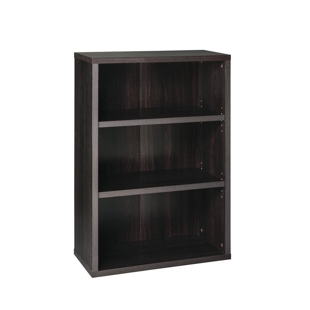 44 in. x 30 in. Black Walnut Decorative 3-Shelf Unit