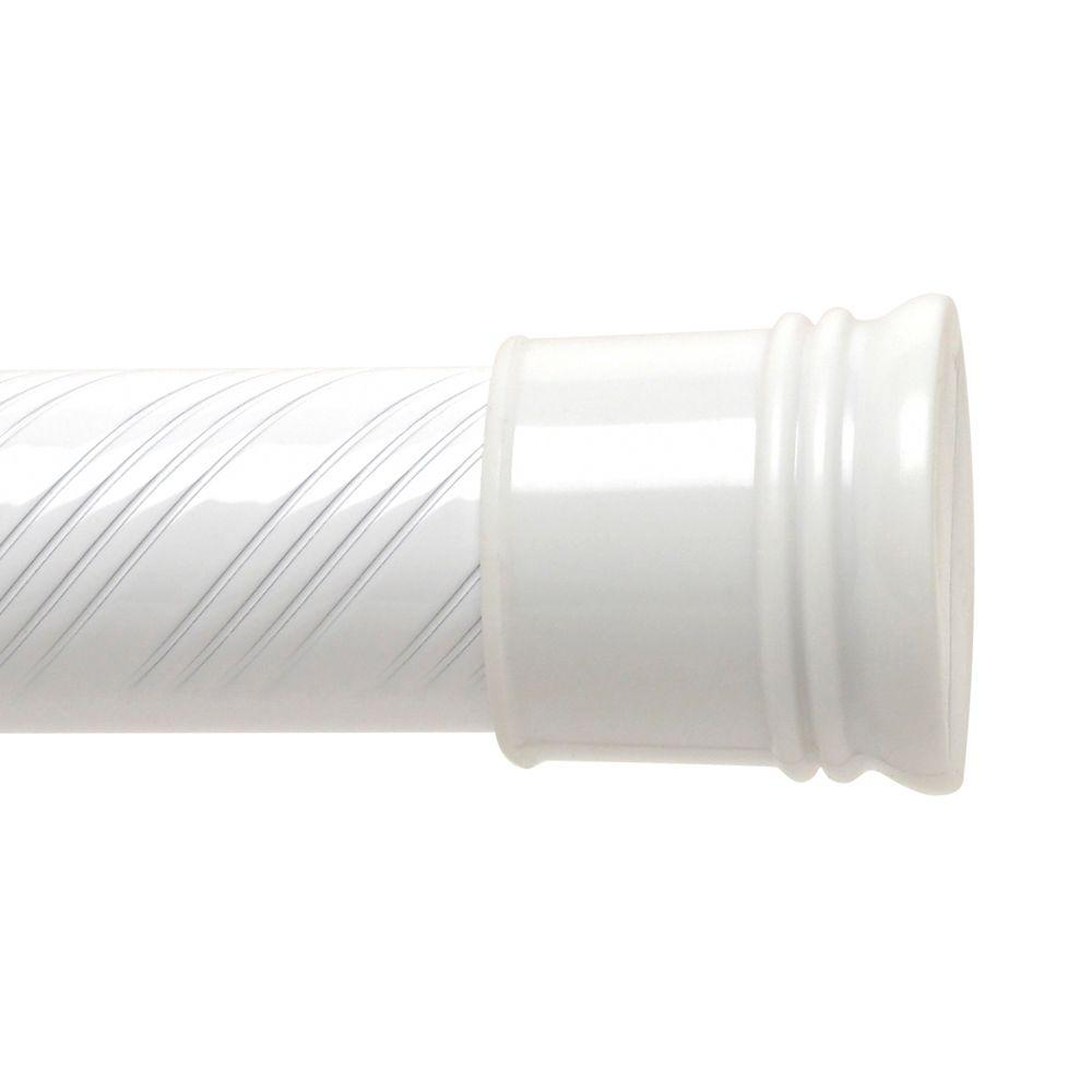 43 in. to 72 in. Tension Swirl Shower Rod in White