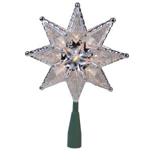 8 in. Silver Mosaic 8-Point Star Christmas Tree Topper - Clear Lights