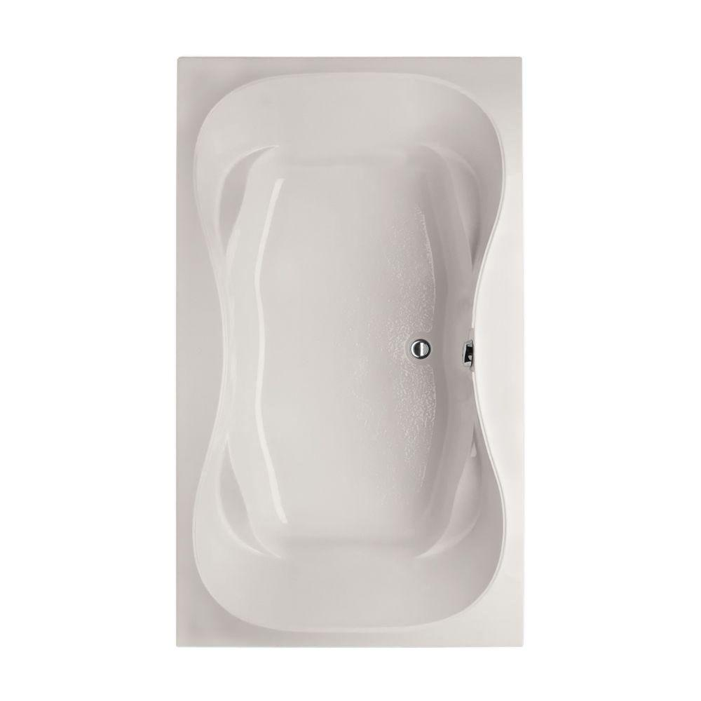 Studio Hourglass 5 ft. Reversible Drain Air Bath Tub in White
