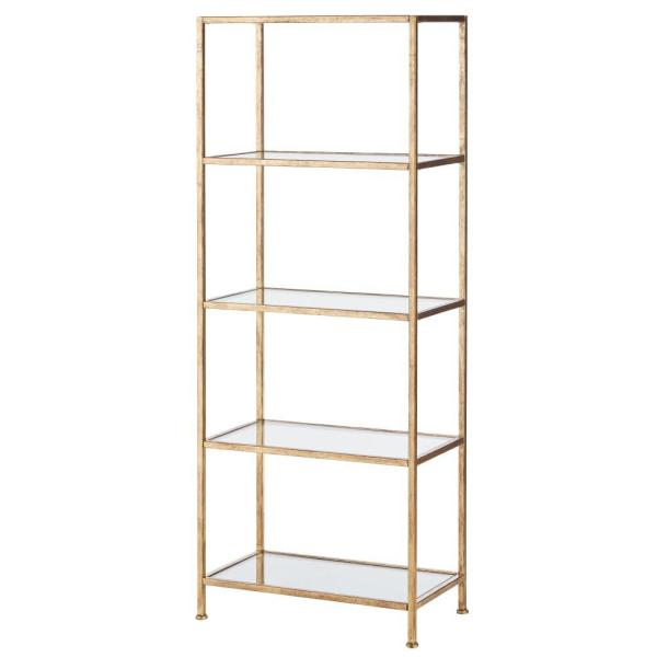 Home Decorators Collection - 62.25 in. Gold Leaf Metal 4-shelf Accent Bookcase with Open Back