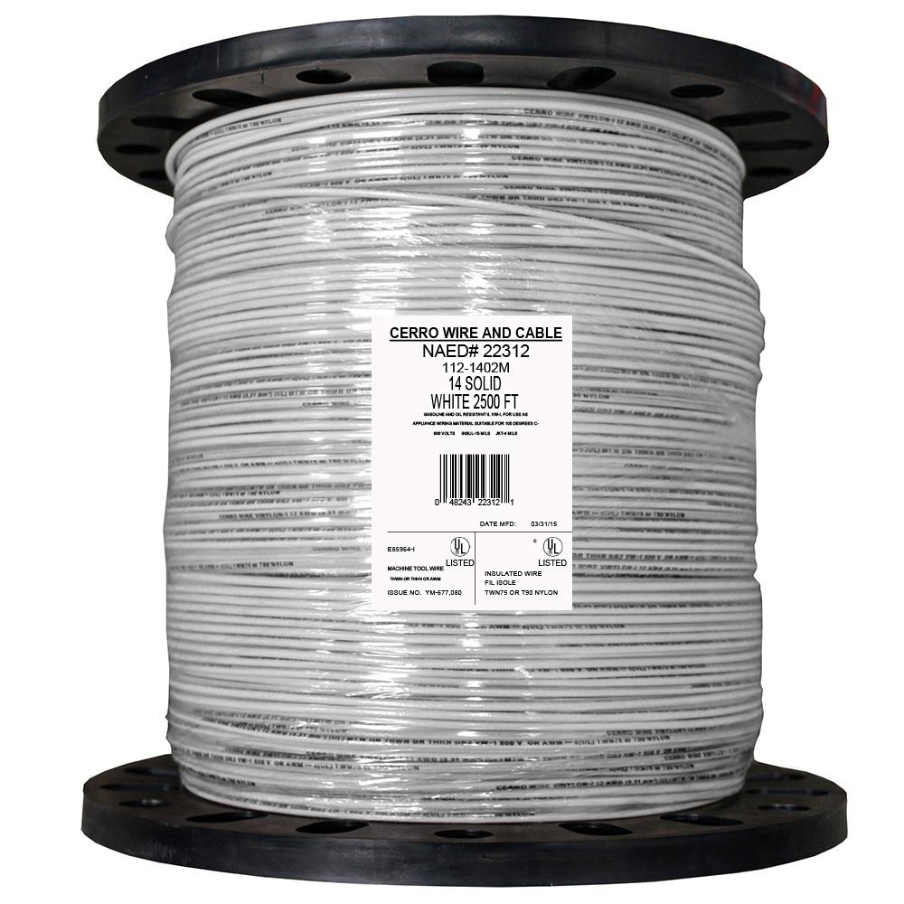 Cerrowire 2500 ft. 14 White Solid THHN Wire-112-1402M - The Home Depot