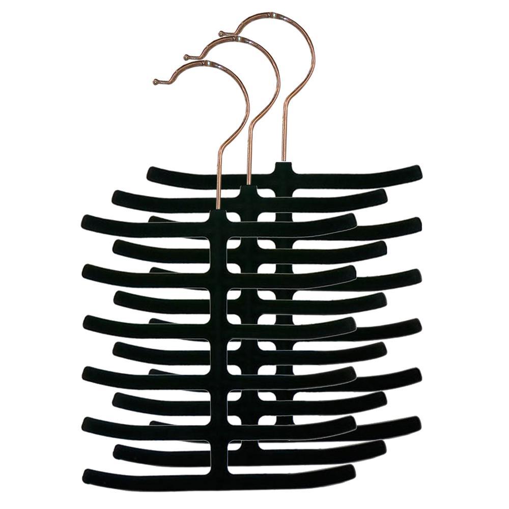 3 Pack Velvet Tie Hanger Black