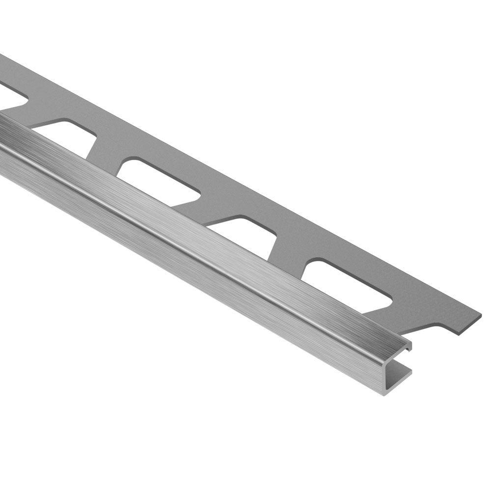Schluter Quadec Brushed Stainless Steel 7/16 in. x 8 ft. 2-1/2 in. Metal Square Edge Tile Edging Trim