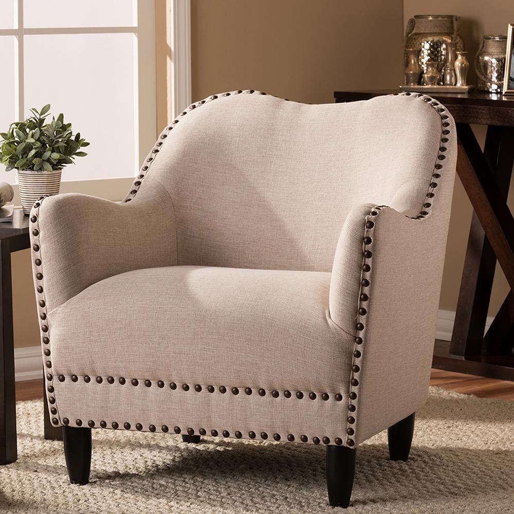Seibert Beige Fabric Upholstered Accent Chair