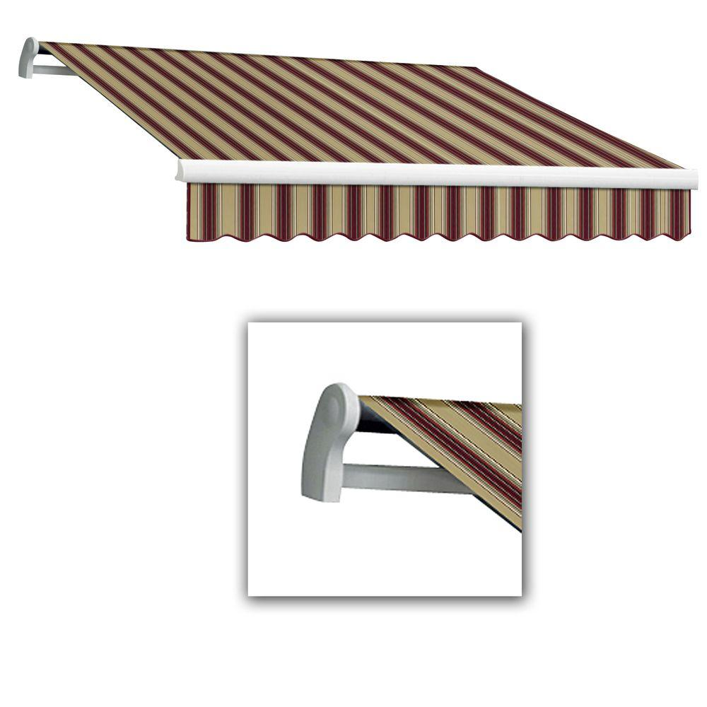 AWNTECH 10 ft. LX-Maui Right Motor with Remote Retractable Acrylic Awning (96 in. Projection) in Burgundy/Tan Multi