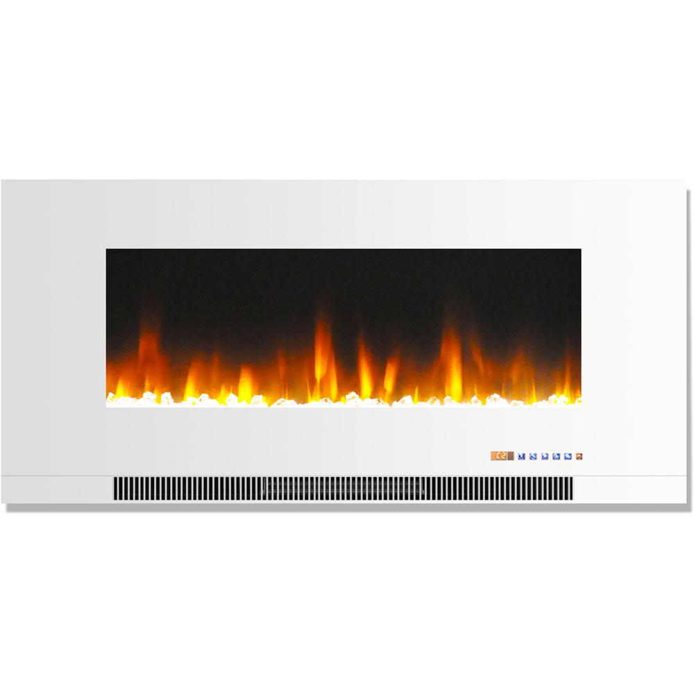 hanover 42 in wall mount electric fireplace in white with multi