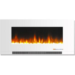 Hanover 42 In Wall Mount Electric Fireplace In White With