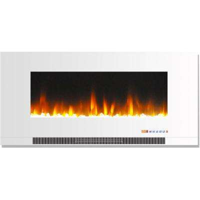 42 in. Wall-Mount Electric Fireplace in White with Multi-Color Flames and Crystal Rock Display
