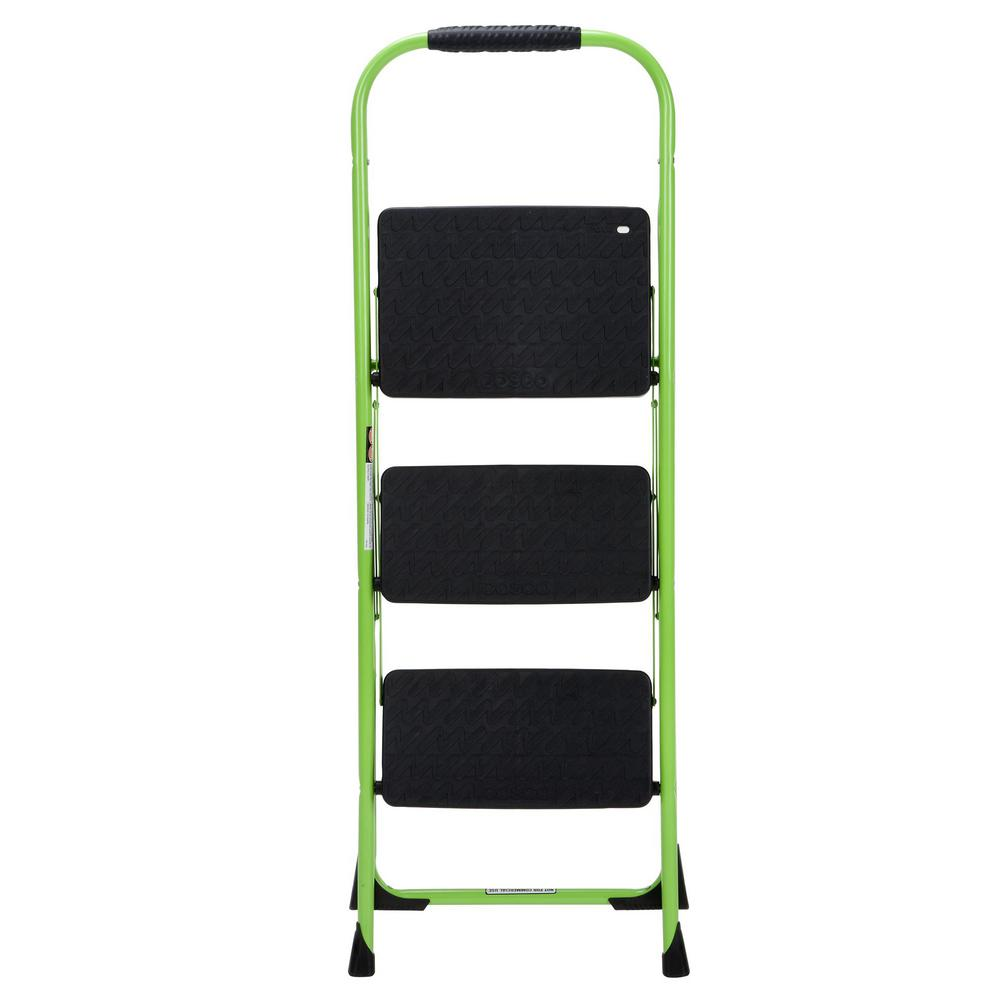 Strange Cosco 3 Step Steel Big Step Folding Step Stool Type 3 With Rubber Hand Grip In Green Beatyapartments Chair Design Images Beatyapartmentscom