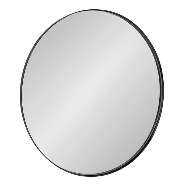 Rollo 28 in. x 28 in. Classic Round Framed Black Wall Mirror