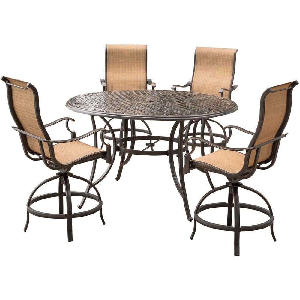 hanover manor 5 piece aluminum round outdoor high dining set with swivels and cast top table. Black Bedroom Furniture Sets. Home Design Ideas