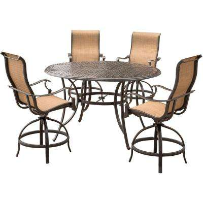 Manor 5-Piece Aluminum Round Outdoor High Dining Set with Swivels and Cast-Top Table
