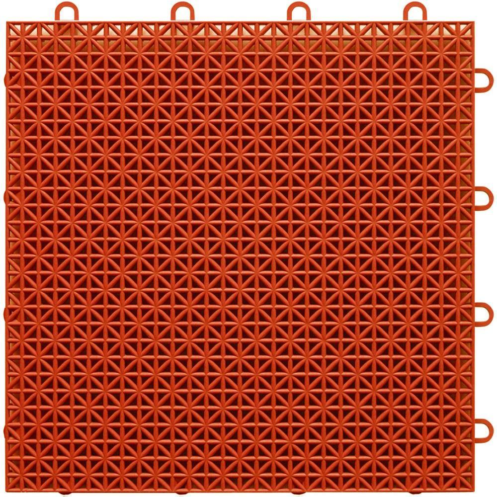 TopDeck Terra-Cotta Polypropylene 1ft. x 1ft. Deck Tile (40 - Case)