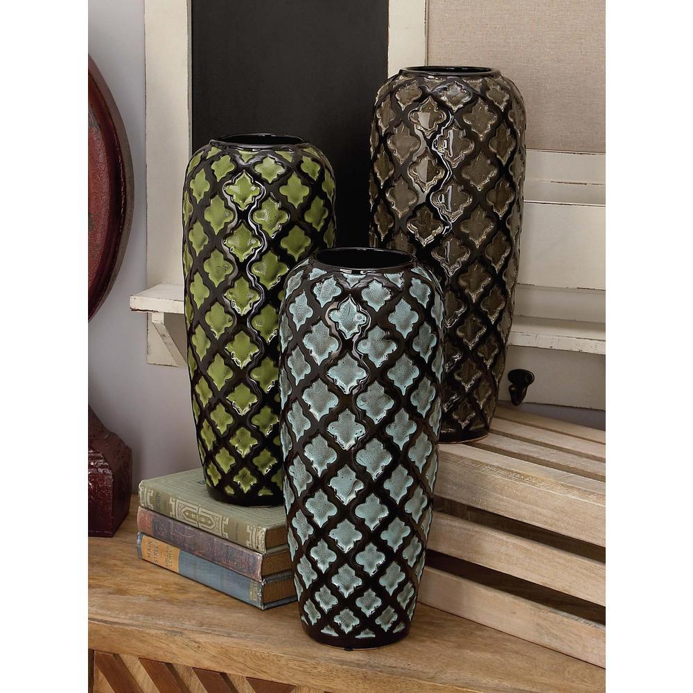 15 in geometric floret multi colors ceramic decorative vase set geometric floret multi colors ceramic decorative vase set of 3 reviewsmspy