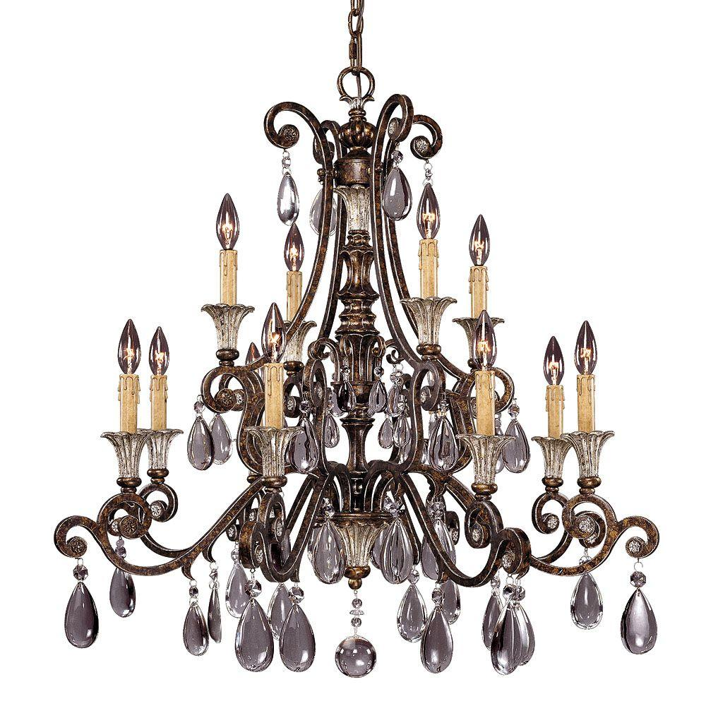 Illumine 12-Light New Tortoise Shell Chandelier with Silver Clear Crystals