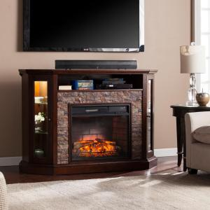 bellingham in w corner convertible infrared media electric fireplace in espresso hd91203. Black Bedroom Furniture Sets. Home Design Ideas