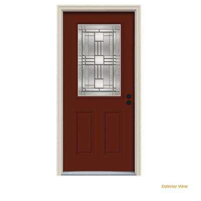 32 in. x 80 in. 1/2 Lite Cordova Mesa Red Painted Steel Prehung Left-Hand Inswing Front Door w/Brickmould