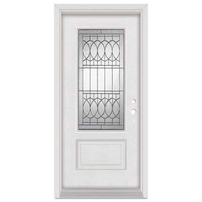 36 in. x 80 in. Nightingale Left-Hand Patina Finished Fiberglass Mahogany Woodgrain Prehung Front Door Brickmould