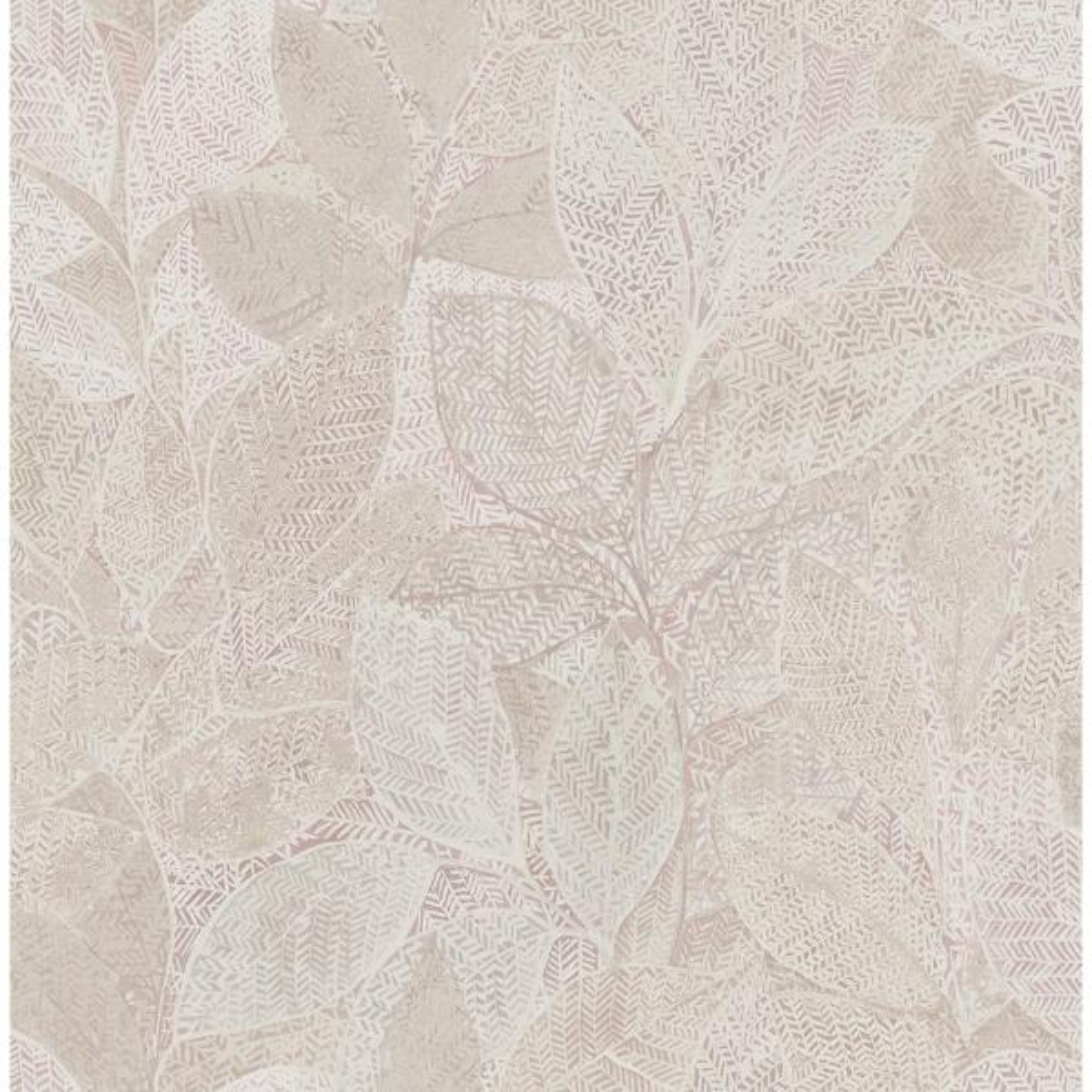 Niabi Pink Leaves Pink Wallpaper Sample