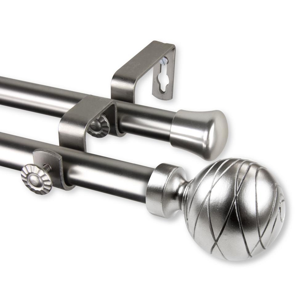 Arman 66 in. - 120 in. Double Curtain Rod in Satin Nickel