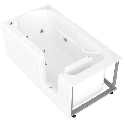 Nova Heated Step-In 5 ft. Walk-In Whirlpool Bathtub in White with Chrome Trim
