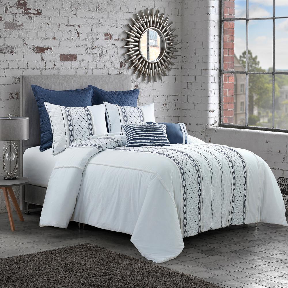 Trellis 3-Piece White Cotton Queen Comforter Set