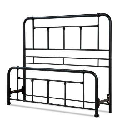 Baldwin Textured Black California King Headboard and Footboard with Metal Posts and Detailed Castings