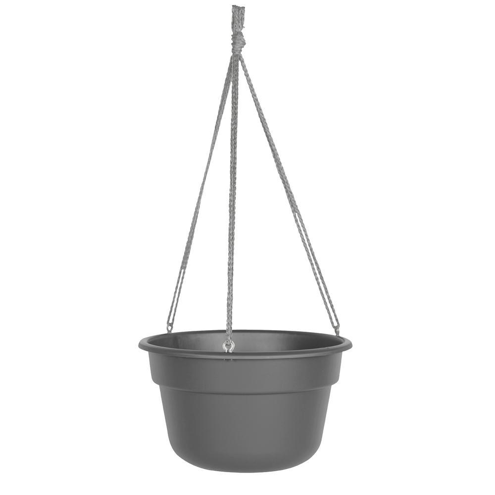 Durra Cotta 12 in. Charcoal Plastic Hanger Basket Planter