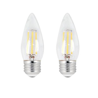 40W Equivalent B10 Candelabra Dimmable Filament CEC Ttile 20 Clear Glass Chandelier LED Light Bulb, Soft White (2-Pack)