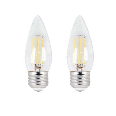 40-Watt Equivalent B10 Dimmable Filament CEC LED ENERGY STAR 90+ CRI Clear Glass Light Bulb, Soft White (2-Pack)