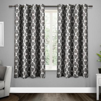 Gates 52 in. W x 63 in. L Woven Blackout Grommet Top Curtain Panel in Black Pearl (2 Panels)