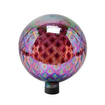 10 in. Purple Glass Gazing Globe with Diamond Pattern