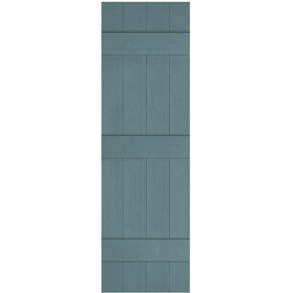 Ekena Millwork 14 in. x 60 in. Lifetime Vinyl Custom Four Board Joined Board and Batten Shutters Pair Wedgewood Blue