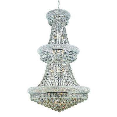 32-Light Chrome Chandelier with Crystal Clear