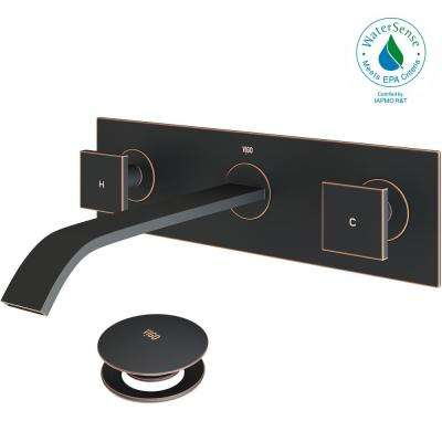 Single Hole 2-Handle Wall-Mount Vessel Bathroom Faucet in Antique Rubbed Bronze