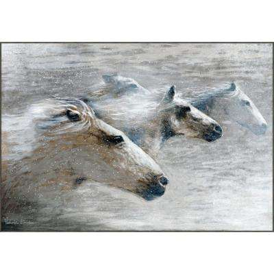 "27 in. x 35 in. ""Unbroken Gray Spirit"" by Valentino Bustos Hand Painted Framed Canvas Wall Art"