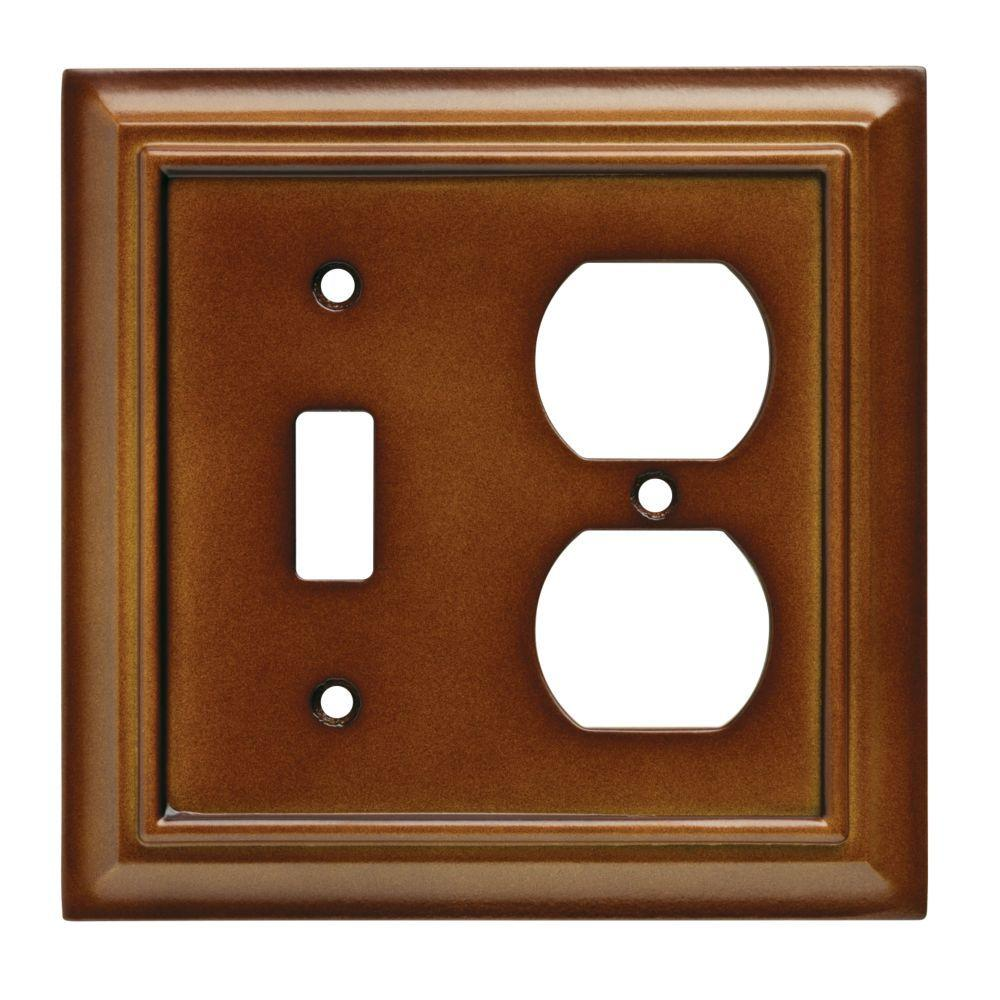 Architectural Wood Decorative Switch and Duplex Outlet Cover, Saddle